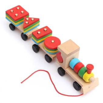 Educational Kid Baby Wooden Solid Wood Stacking Train Toddler Block Toy for Gift - picture 2
