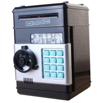 Educational Mini Password Number Bank Money Cash Coin Saving Storage For Kids Birthday Gift (Black)