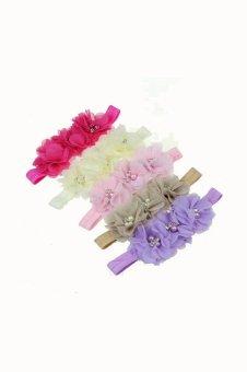 Elastic Chiffon Flower Headbands - Multicolour