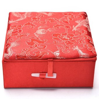 Embroidery Jewelry Box Traditional Chinese Dragon Pattern PaletteBox Red - intl Price Philippines