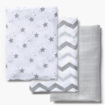 Enfant 3-piece Cotton Swaddle Blanket (Gray)