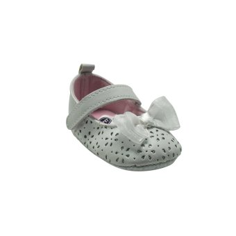 Enfant Baby Girl Shoes with Flower Design and Ribbon