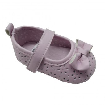 Enfant Baby Girl Shoes with Flower Design and Ribbon (pink)
