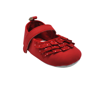 Enfant Baby Girl Shoes with Folded Cloth and Polka Dots Design (Red)