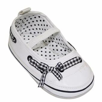 Enfant Baby Girl Shoes with Polka dots and ribbon design (white)