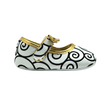 Enfant Baby Girl Shoes with Swirl Designs (White) - picture 2