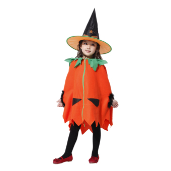 EOZY Children's Halloween Costumes Pumpkin Skirt Stage OutfitClothes For Kids Cosplay Costume With Hat-L - Intl
