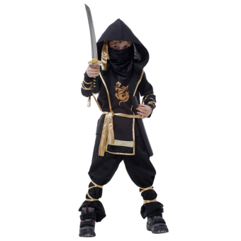 EOZY Classic Halloween Costumes Cosplay Costume Martial Arts Ninja Costumes For Kids Fancy Party Decoration -XL (Black) - Intl - 4