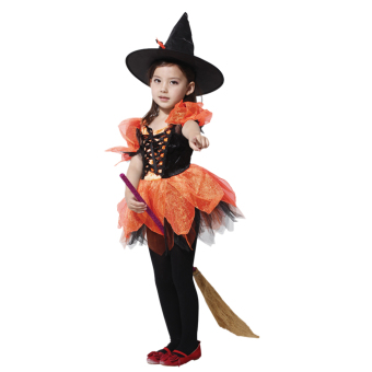 EOZY Girl's Halloween Fly Witch Costume Dress Chiffon Dress And Hat Cosplay Clothing For Kids/Children (Orange) - Intl