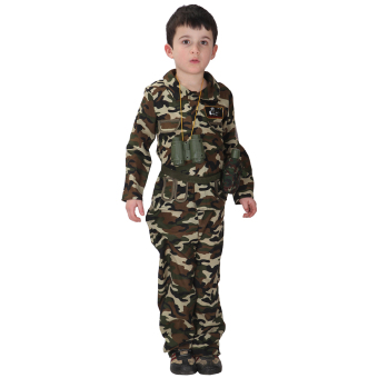 EOZY Halloween Kids Boy Army Camouflage Clothes Cosplay Costumes Stage Performance Costumes -L Price Philippines