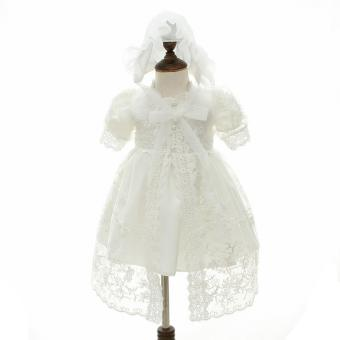 EOZY Newborn Baby Polyester Dress Lace Princess Dresses forChristening Gown Ceremonies (White) - intl Price Philippines