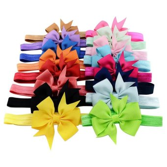 EsoGoal 16x Baby Girls Headbands Ribbon Hair Bow Tie Hair Bands(Random Color) - intl