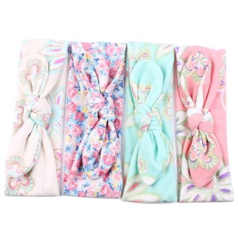 EsoGoal Baby Girls Elastic Turban Rabbit Ear Headbands Head Wrap (4Pcs) - intl