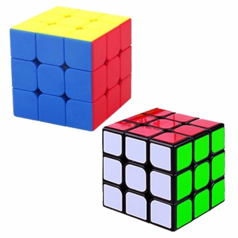 Ever Speed 3x3 Rubik's Cube Black and 3x3 Rubik's Cube RedStickerles Bundle Set
