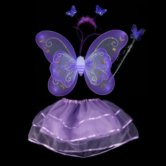 Fairy Princess Butterfly Wing Headband Dress Birthday Party DressUp Costume Set - intl