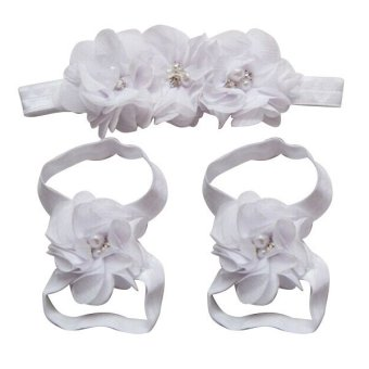 Fang Fang Lovely Foot Chiffon Flower Barefoot Sandals + HeadbandSet for Infant Baby Girls (White) Price Philippines