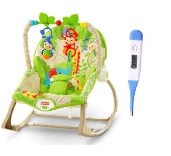 Fisher-Price Rainforest Friends Infant to Toddler Rocker WithDigital LCD Soft Head Thermometer With Beeper