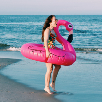 Flamingo PVC summer water inflatable swan floating row swimming laps