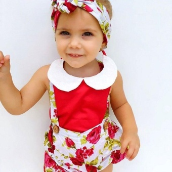 Floral Toddler Baby Girls Rose Shorts Pants Headband Summer OutfitsClothes 0-3Y (12-18 months) - intl - 3
