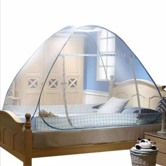 Folding Mosquito Netting for bed 1.8m x 2m blue