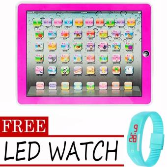 Fudun Kid Learning Educational Pad Computer Mini Tablet Toy (Color May Vary)- intl with LED Watch (Color May Vary)