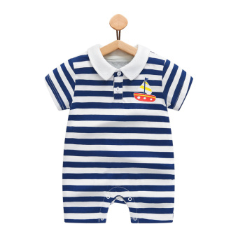 Gentleman summer thin newborns short sleeved romper baby coveralls