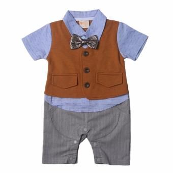 Gentlemen Suit Romper (Blue/Brown) for Baby 9 to 12 Months Old