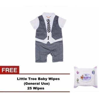 Gentlemen Suit Romper (Grey) For Baby 12 to 18 Months Old with FreeLittle Tree Baby Wipes (GENERAL USE) 25 WIPES