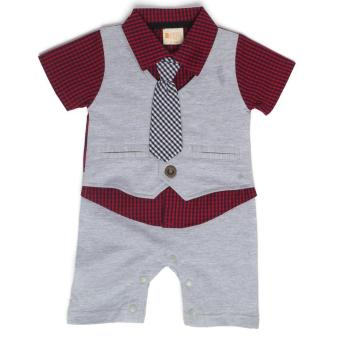 Gentlemen Suit Romper Light Grey for 12 to 18 Months Old