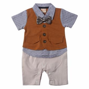 Gentlemen Suit Romper (Light Grey/Brown) for Baby 6 to 9 Months Old