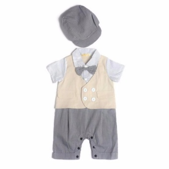 Gentlemen Suit Romper with Cap (Grey) For 6 to 9 Months Old
