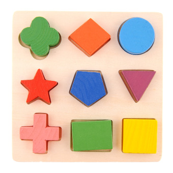 Geometry Shape Wooden Pattern Building Block Toy Montessori Educational Early Learning Kids Baby Children Age 3+