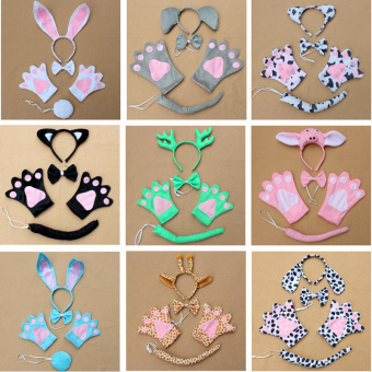 Giraffe Cosplay Christmas Halloween Costume Outfit Headband Gloves Tie Tail Set of 4 - picture 2