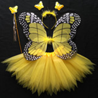 Girls Butterfly Fairy Costume with Wings, Wand and Halo--Yellow Price Philippines