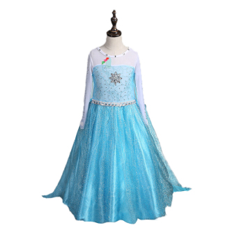 Girls Elsa Costume Princess Child Fancy Outfit Party Long Dresses - Intl - intl Price Philippines