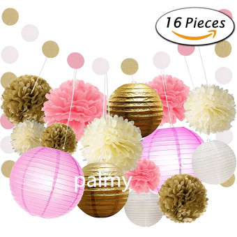 Gold birthday party decorative paper lantern