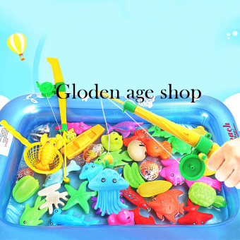 Golden age Baby Kid Toy Magnetic Fishing Two Rods with pool