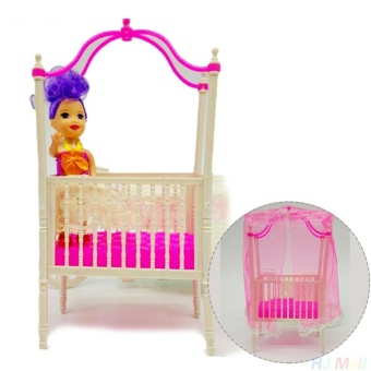 Great Fun Sweet Crib For Barbie Girls Doll Furniture Kelly Doll's Baby Doll Accessories - intl
