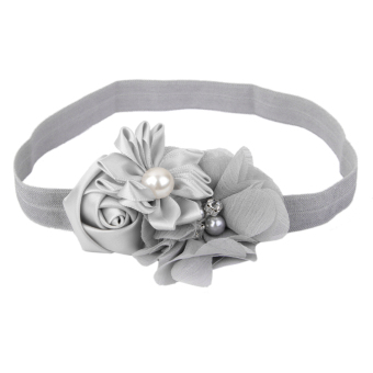 Grey Flower Baby Girls Headband Photography Props Hair Band