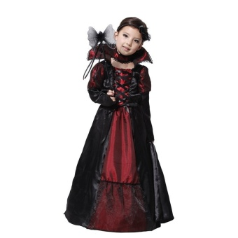 Halloween Costume for Kids Long Dress Carnival Party CosplayChildren Girls Princess Vampire Costumes(M) - intl