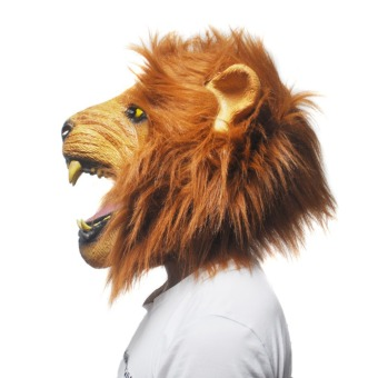 Halloween Props Adult Angry Lion Head Masks Animal Full LatexMasquerade Birthday Party Rubber Silicone Face Mask Fancy Dress - 2