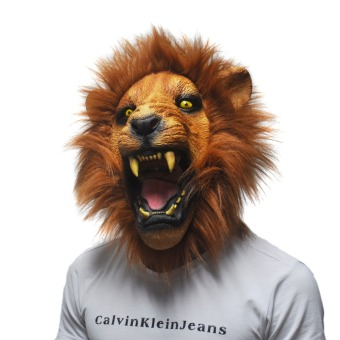 Halloween Props Adult Angry Lion Head Masks Animal Full LatexMasquerade Birthday Party Rubber Silicone Face Mask Fancy Dress