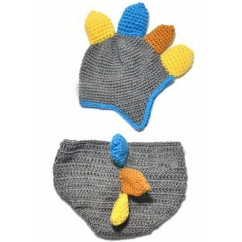Handmade Crochet Baby Hat and Diaper Cover Newborn PhotographyProps Dinosaur Beanie with Shorts Children Costume Set - intl - 3
