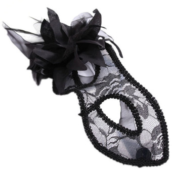 Hang-Qiao Cosplay Lace Mask Masquerade Halloween Transparency Black - picture 2