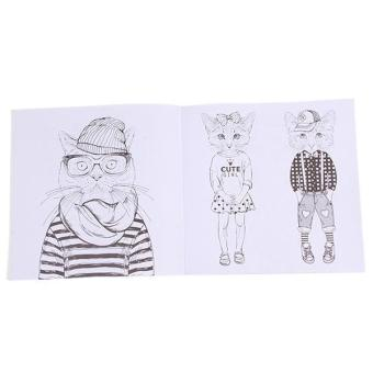 Hang Qiao Secret Garden Cat Park Coloring Book Black And White