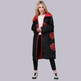 Hanyu Unisex NARUTO Akatsuki Cosplay Costumes Cloak BlackRed(Int:XXL)(Intl) - intl
