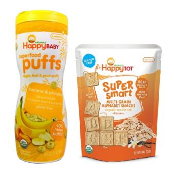 Happy Baby Bundle of Banana Pumpkin Puffs and Vanilla Oat SuperSmart Snacks