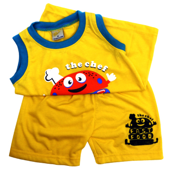 HAPPY KIDS Basic Sando and Shorts Fast Food of The Year Design(Yellow)
