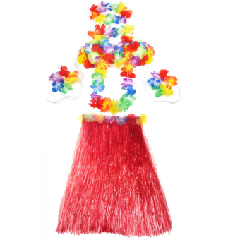 Hawaiian Luau Party Decorations Costumes Set with 60CM Length Skirt and Headwear Headband and Lei Garland and Wristbands and Bra Redar Auto Seat Back Protector Cover Backseat New