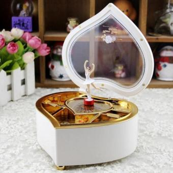 Heart Shaped Ballerina Music Box Jewelry Storage White - intl
